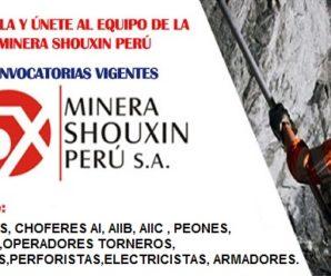 Urgente Vacantes para trabajar en Minera Shouxin S.A 6 Plazas Disponibles