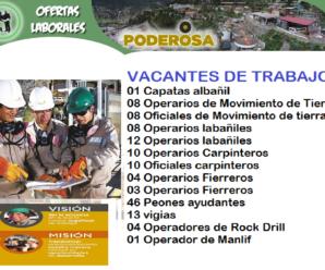 215 Vacantes para trabajar en Compañia Minera Poderosa S.A.