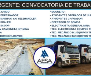 Nuevas Vacantes para trabajar en AESA Infraestructura y Minería