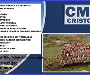 Nuevas Vacantes para trabajar en CONTRATA MINERA CRISTOBAL E.I.R.L.